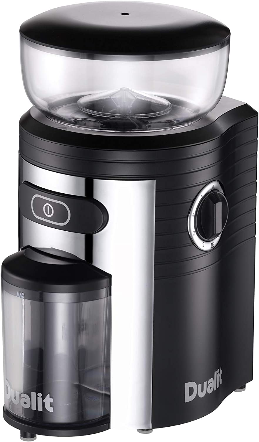 Dualit Burr Coffee Grinder | Chrome | Electric Coffee Grinder | Portion Control | Multiple Grind Settings | Conical Burr Grinder | 220g Capacity | 75015