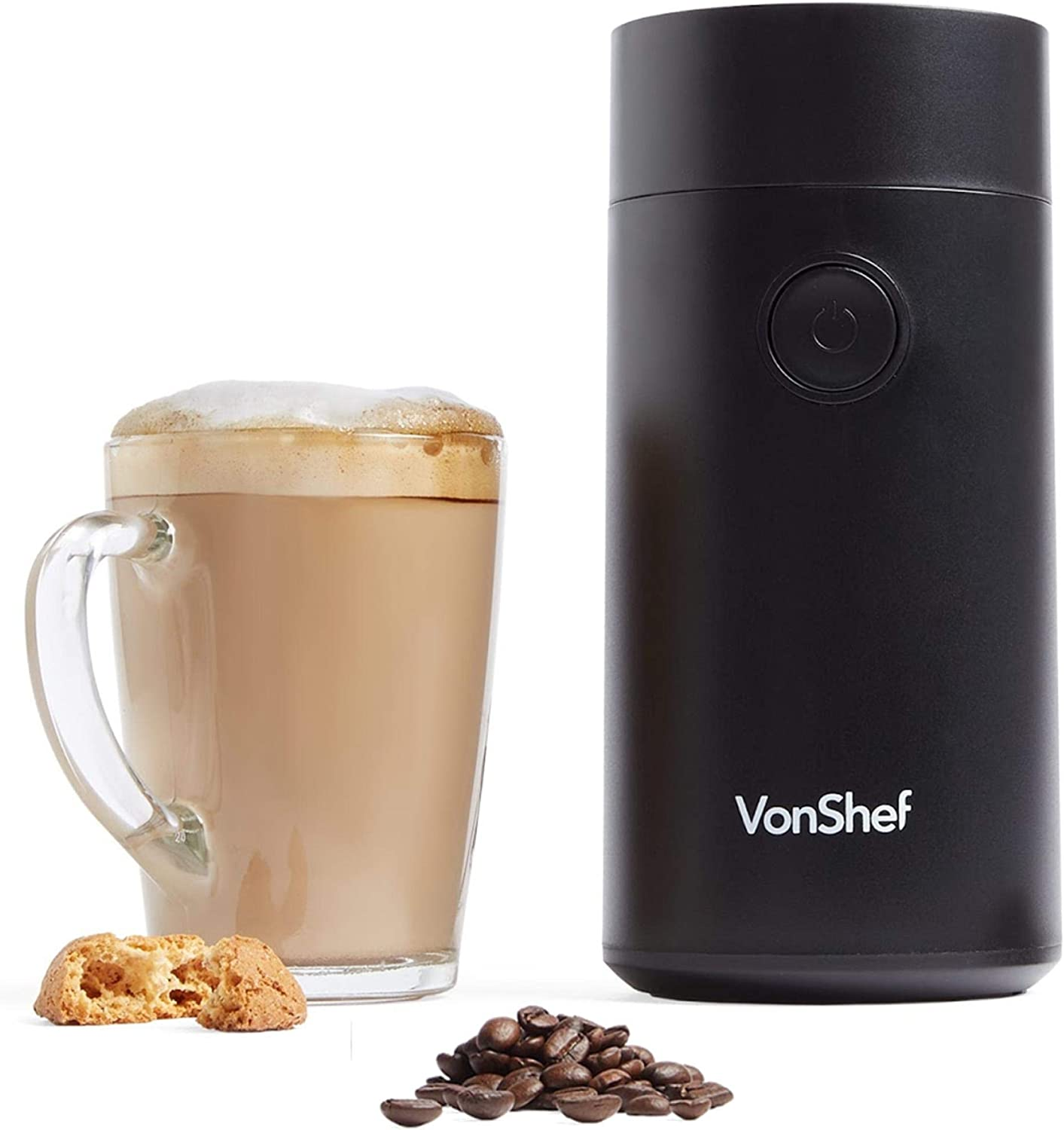 VonShef Electric Coffee Grinder, For Espresso Beans, Nuts and Spices with Powerful Motor and Tough Stainless Steel Blades, Grind up to 60g of Beans – Black 150W