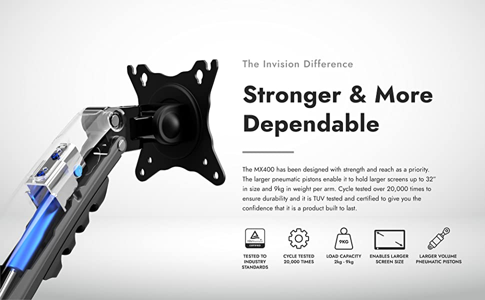 Invision MX400 stronger and more dependable Increased Load Capacity from 2-9kg