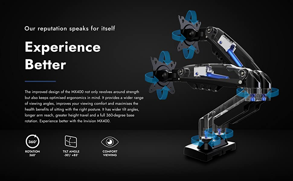 Invision MX400 Experience better tilt angles rotation height travel