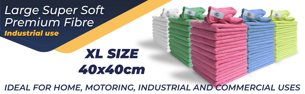 Microfibre cloths ideal for home, motoring, industrial and commercial uses